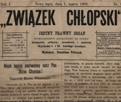 "ON THE PEASANT MOVEMENT IN SĄDECCZYZNA REGION – a lecture from the ""Sącz Histories"" series"